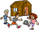 Picture of a cabin and three children playing a ball