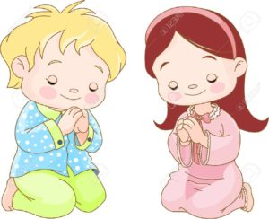 Little gir and little boy prayer